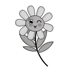Grayscale kawaii funny flower plant with tongue vector