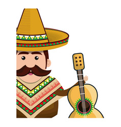 Half body man mexican with hat and acoustic guitar vector