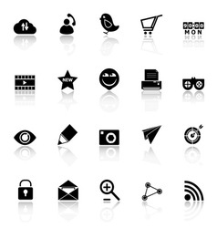 Internet useful icons with reflect on white vector