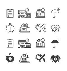 Life house protection and safety icons set vector