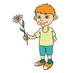 Little boy holding a flower vector image