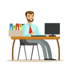 Man working at his desk with computer and folders vector