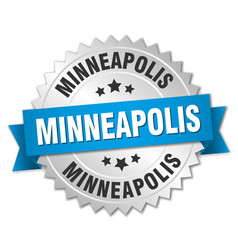 Minneapolis round silver badge with blue ribbon vector