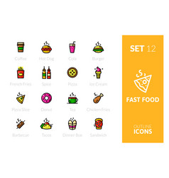 outline color icons set vector image vector image