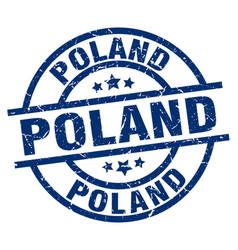 Poland blue round grunge stamp vector