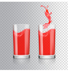 Red juice in glass grapefruit cranberry vector