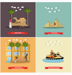 set of vacation in egypt concept flat vector image