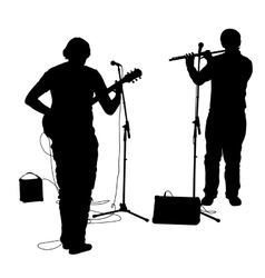 Silhouettes musicians plays the guitar and flute vector image