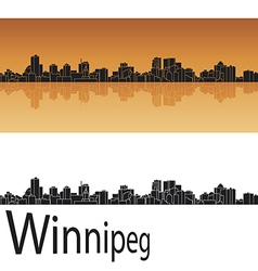 Winnipeg skyline in orange background vector