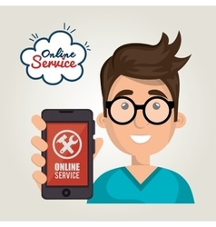 Online service boy hold smartphone support vector