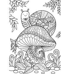 snail on mushroom vector image