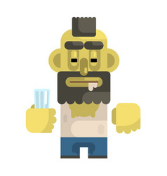 Alcoholic with glass and mohawk revolting vector