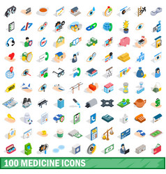 100 medicine icons set isometric 3d style vector image