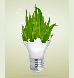 light bulb with grass the concept vector image