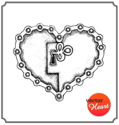 Metallic lock in form of heart vector