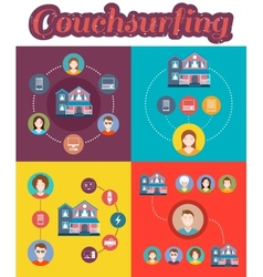 Set of couchsurfing vector