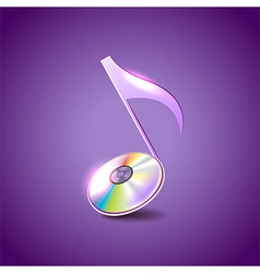 Music note like compact disc background vector image