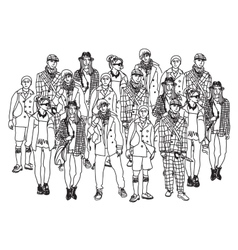 Isolate group young fashion people monochrome vector