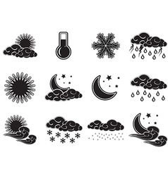 Night day weather colour icons set black isolated vector