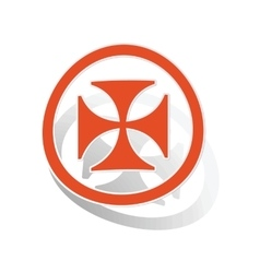 Maltese cross sign sticker orange vector