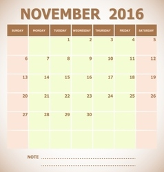Calendar november 2016 week starts sunday vector
