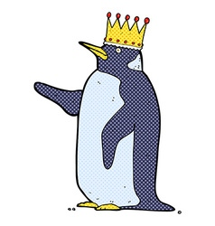 Comic cartoon penguin wearing crown vector