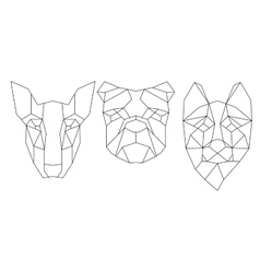 Dog head triangular icon  geometric trendy line vector