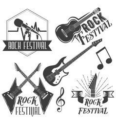 Set of rock festival labels in vintage vector