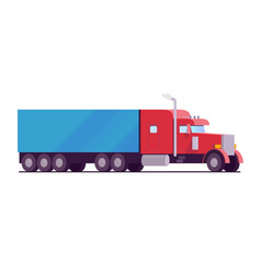 American rig big truck red color with a blue vector