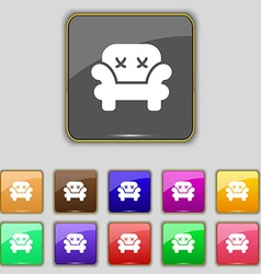 Armchair icon sign set with eleven colored buttons vector