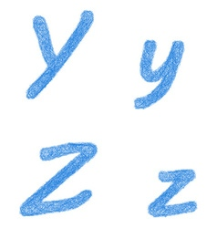 Blue sketch font set - letters y z vector