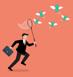 Businessman trying to catch money vector