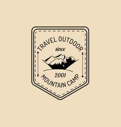 Camp logo tourism sign with hand drawn vector