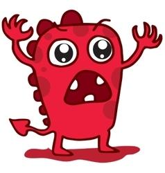 Cartoon funny red monster t-shirt design vector