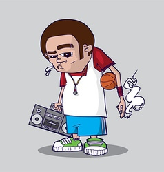 Cartoon man with music vector