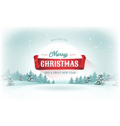 christmas landscape postcard vector image vector image
