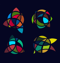 Cubism art picture logos set colorful stained vector