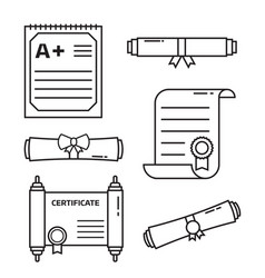 Diploma certificate icons vector