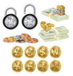 Finance secure concept gold metal coins vector