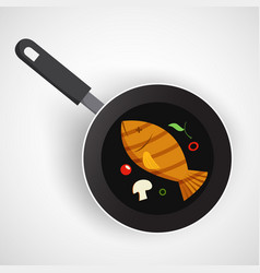 Fish on pan vector