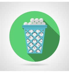 Flat icon for golf Blue basket with balls vector image