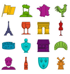 France travel icons doodle set vector