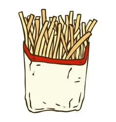 French fries in a paper wrapper vector