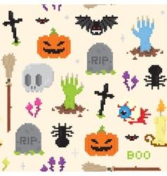 Halloween pixel art pattern vector