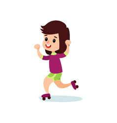 happy little girl character skating on vector image