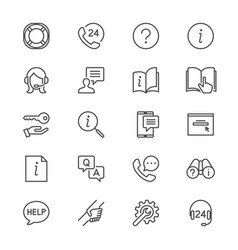 Help and support thin icons vector