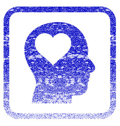 Lover head framed textured icon vector