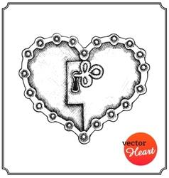 Metallic lock in form of heart vector