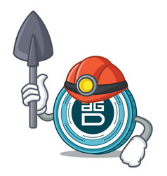 Miner digixdao coin mascot cartoon vector