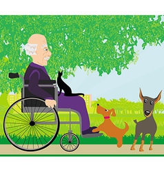 Old man in a wheelchair and his pets vector